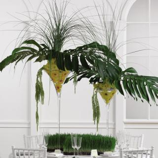 Gerbera and Monstera Elevated Centerpiece