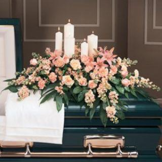 A Casket Spray/Stock,Lillies,Roses,Alstro and Candles
