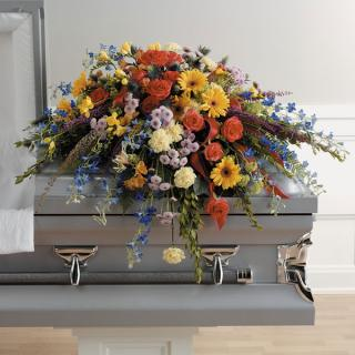 A Colorful Memories Casket Spray/Delph,Gerbers,Roses,carnation