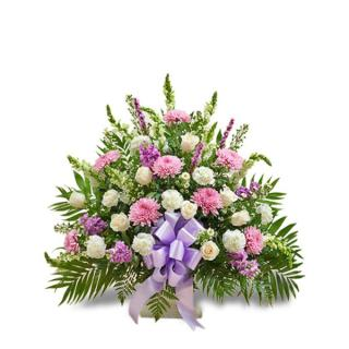 Funeral Basket/Football,Snaps,Liatris,Roses,Stock,Monte