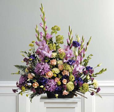 Purple, Peach and Green Arrangement/ Roses,Lisianthus,Football,
