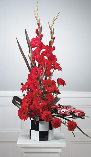 Red Arrangement with Racing Accents/Car,Glads,Gerbs