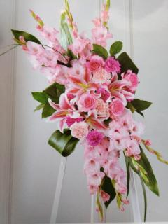 Pretty Pink Stand/Glads,Lillies,Carns,Roses