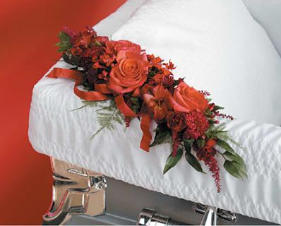 Red Casket Adornment/Roses,Carns,Alstro