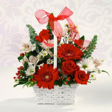 Red & White Delight/Gerbs,Alstro,Roses,Fox tail,Dasies,Hypericum