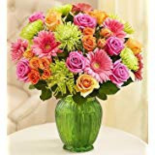 Vibrant Bloom Bouquet/Fuji,Gerbs,Roses