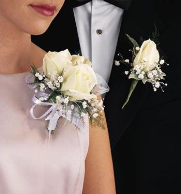 Corsage and Boutonniere,Rose,Baby Breath/CLICK FOR PRICE
