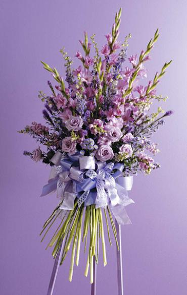 Faux Hand-Tied Bouquet Spray/Glads,Snaps,Roses,Larkspur