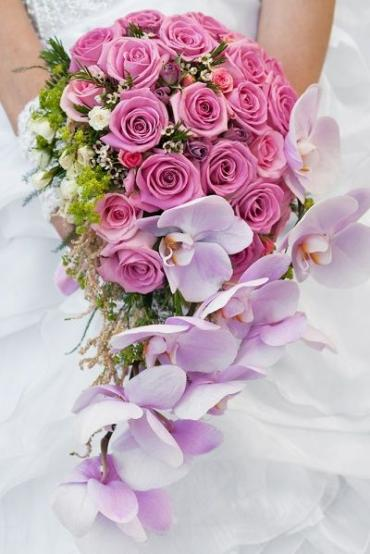 Cascading Bridal Bouquet/Roses,Orchids,Astilba,Wax