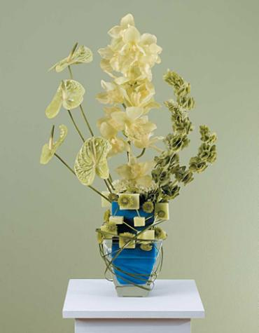 Green Sympathy Arrangement/Orchid,Bell of Ireland,Antherium