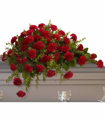 Casket Spray/Red Carnations