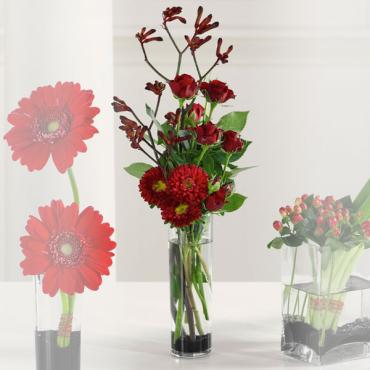 Red Arrangement in Cylinder Vase/Kangaroo-Paw-Asters,Roses,Matsu