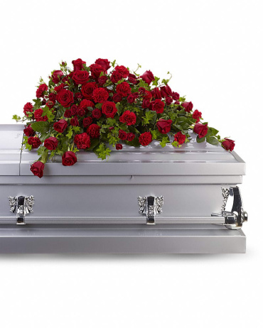 A Red Rose Reverence Casket spray/Roses,Carns