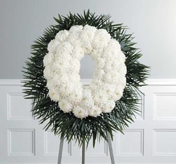 white Football Mum Oval Wreath