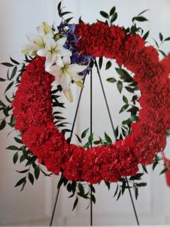 Honor Wreath/Carnations,Lilly,Delphinium