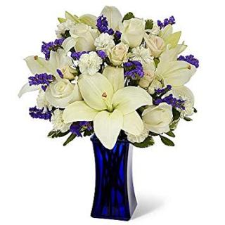 Bright Blue And White/Roses,Lilies,Statice,Mini Carns
