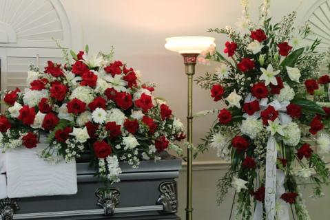 Casket Set/Roses,Hydrangea,Gerbs/Click for Price/Buy Seperate
