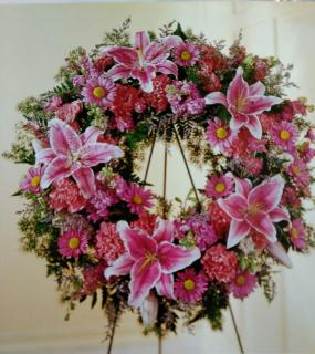 Gentle Wreath/Stock,Carns,Larkspur,Daisy,Lilly,Limonium