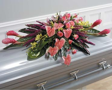 Tropical Casket Spray/Ginger,Anthurium,Roses,Orchids,Lillies