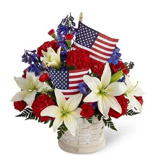 Patriotic Arrangement/Lily,Carnation,Delphenium,flags