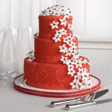 Red Fondant Cake with Stephanotis