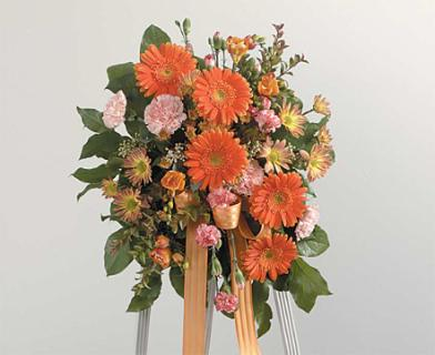 Small Peach and Orange Standing Spray/Gerbs,Carns,Freesia