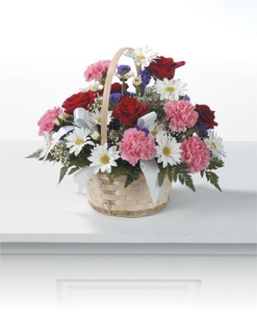 Bright Basket/Carns,Roses,Statice,Baby Breath,Daisies