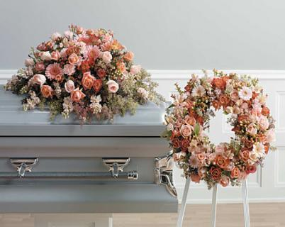 Peach & Orange Funeral/Roses,Alstro,Gerbs,Carns/CLICK FOR PRICE