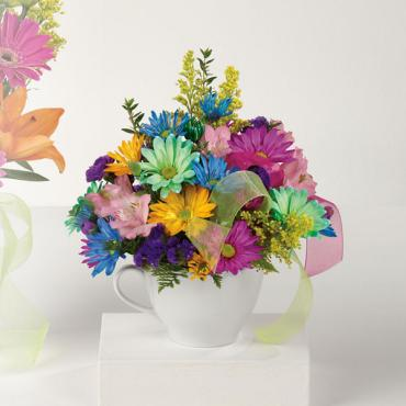 Happy Birthday Mug/Solidego,Daisies,Alstromeria