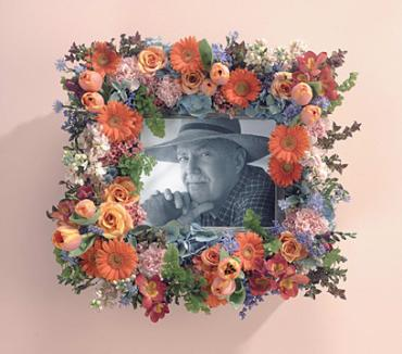 Peach Memorial Picture Frame/Tulips,Roses,Gerbs Hydrangea,