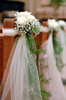 Pew Decorations/Roses,Baby Breath,Tulle