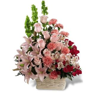 Funeral Basket/Lilly,Roses,Alstro,Bells Of Ireland,Carnations