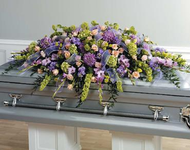 A Full Couch Casket Spray/Hydrangea,Glads,Viburnum,Stock,Carns