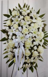 Beautiful Tribute Stand/Roses,Lillies,Poms,Carns