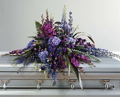 A Purple Tone-on-Tone Casket Spray/Glad,Stock,Hydrangea,Carns