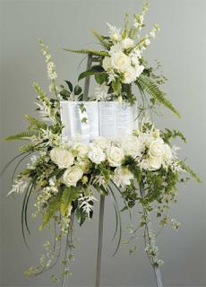 White Standing Spray with Bible/Stock,Roses,Astilbe,Dahlias