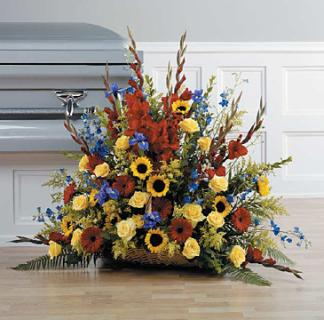 Large Fire side basket/Sunflowers,Glads,Delph,Carns