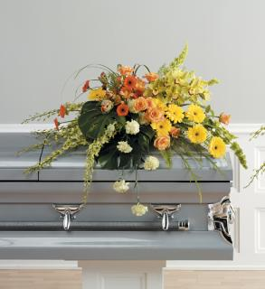 A Orange and Yellow Casket spray/Gerbs,Roses,Orchids,Tulips