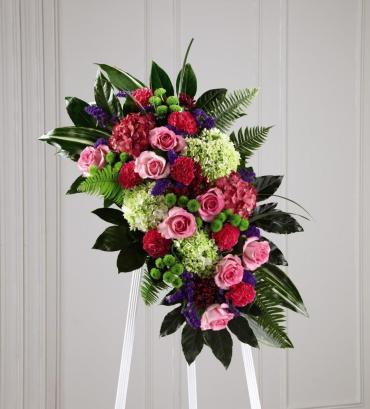 Mix Standing Spray/Statice,Hydrangea,Roses,Carns,Buttons