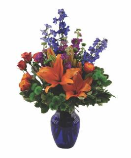 Blue Crush/Lilies,Stock,Roses,Buttons,Delphinium