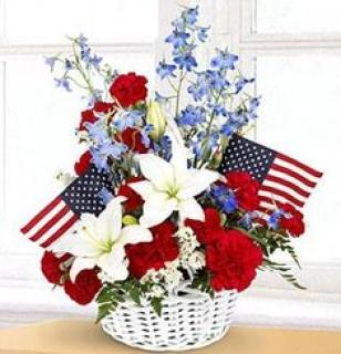 Patriotic Flower/Delphenium,Carnation,Rose,Flags