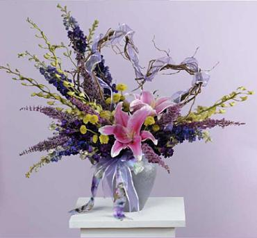 Vase Arrangement with Curly Willow Heart/Liily,Orchid,Delphenium