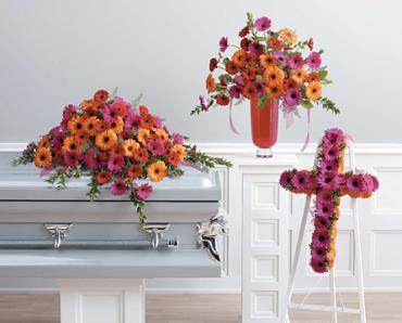 Casket Set/ Gerber Daisy/CLICK FOR PRICE/ BUY SEPARATE