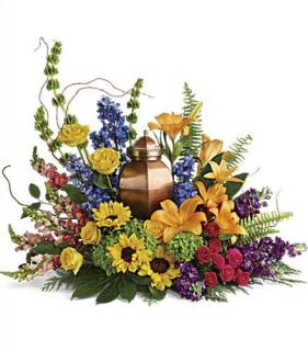 Urn Arrangement/Sunflowers,Lilies,Stock,Roses