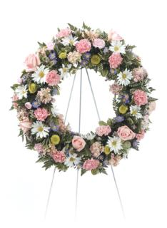 Pink/Peach Standing Wreath/Carns,Roses,Buttons