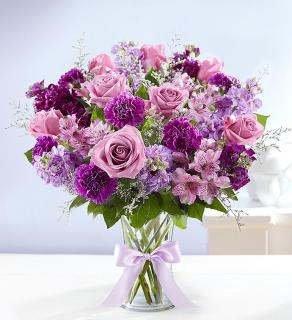 Shades Of Purple/Carnations,Roses,Alstro,Stock,Limonium