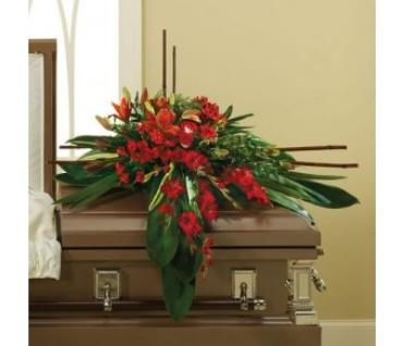 Traditional Casket/Roses,Lillies,Glads,Alstro,Leucadendron