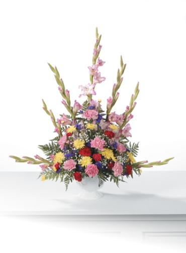 Funeral Basket Spray/Glads,Carns,Mums,Baby Breath