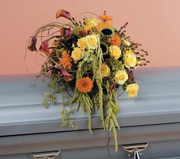 Orange and Yellow Cascading Casket Spray/Cali Lillies,Gerbs,Rose