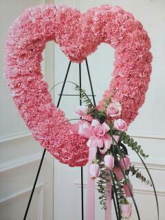 Pink Open Heart/Carnations and Roses